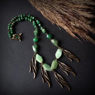 Зелене намисто Вербовий вітер з авантюрином