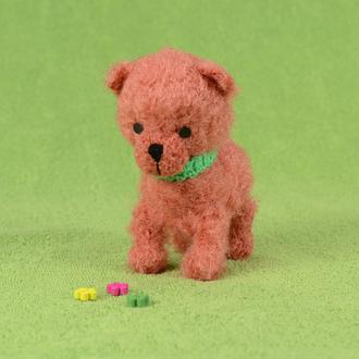 Собачка рыжая. Вязаная игрушка.