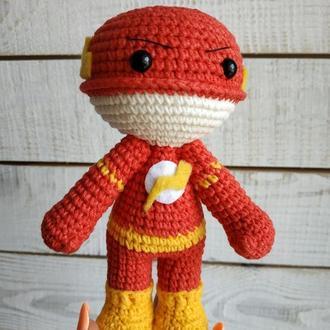 М'яка іграшка Флеш (в'язана лялька супергерой)