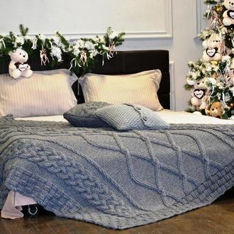 Комплект: стильный  вязаный плед-покрывало 150х205 см + вязаная наволочка с подушкой 40х40 см