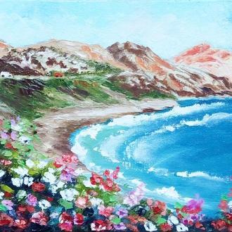 Картина маслом, море, Лето на Кипре