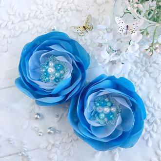 Резинки для волос, цветочные резинки,пара резинок,подарок девочке