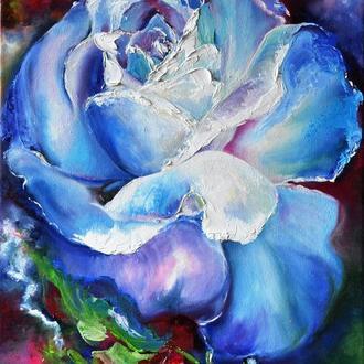"""Снежная роза"" живопись маслом, 60х40 см, белый цветок, роза"