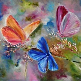 """Картина маслом """"Дыхание лета"""",  бабочки, 50х70 см"""