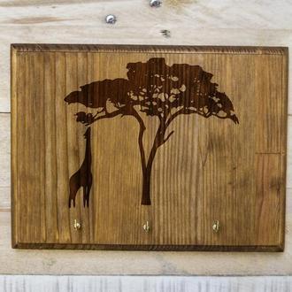 """Настенная ключница """"Саванна"""" 01 из дерева"""