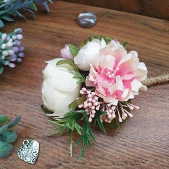 Бутоньерка для жениха Айвори-Пудра Бутоньерка для свидетеля Свадебные бутоньерки