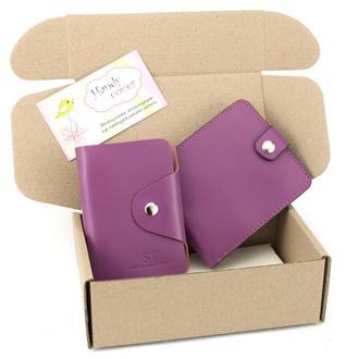 Подарочный набор №3: портмоне П1 + картхолдер (фуксия)