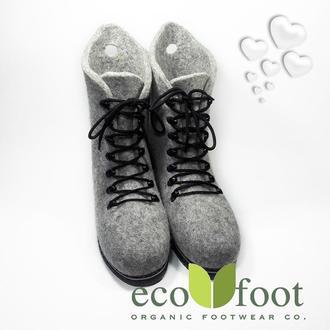 Валенки-ботинки на шнурках серые