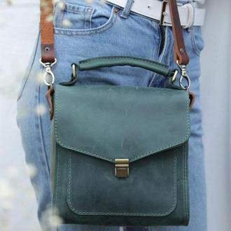 Женская кожаная сумка. Кожаная сумочка через плечо.