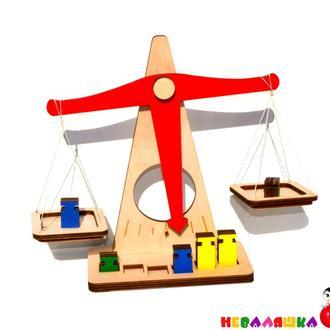 Деревянные Весы игрушечные в плёнке, детские гирьки игрушка Дерев'яні Ваги Терези