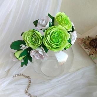 Обруч с цветами роз для праздника, обруч с розами