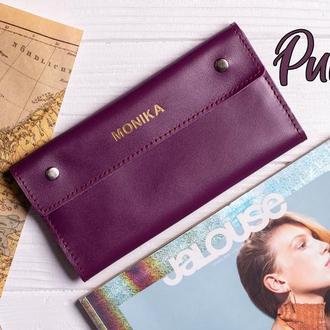 Женский кошелек из натуральной кожи в фиолетовом цвете