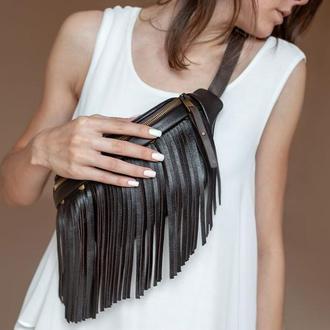 Коричневая поясная сумка с бахромой, Кожаная сумка на пояс, Поясная сумка для женщин