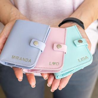 Компактный кожаный кошелек с застежкой в 7 цветах