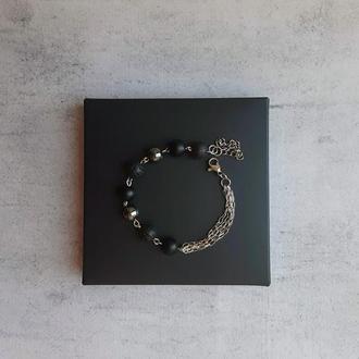 Стильный женский браслет из натуральных камней . Подарок девушке.