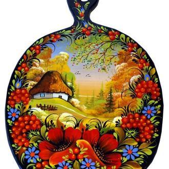 Деревянная кухонная доска Петриковская роспись
