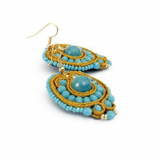 Голубые серьги с агатом, Сутажные украшения, Оригинальный подарок девушке