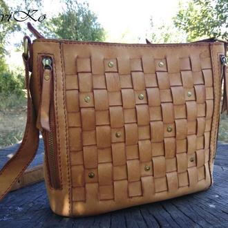 Женская плетеная сумка из кожи Крейзи Хорс