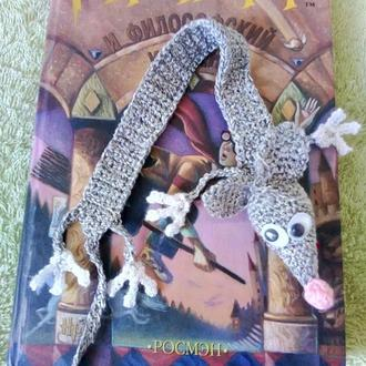 Вязаная закладка для книги Мышка