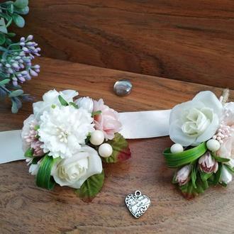 Свадебные бутоньерки Розовая пудра Бутоньерка Бутоньерка на руку Цветочный браслет на выпускной