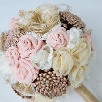 Рустикальный Букет в розово-нюдовий гамме