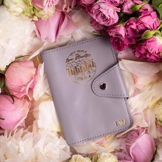 Кожаная обложка на паспорт, обложка из натуральной кожи, обложка на паспорт в сером цвете