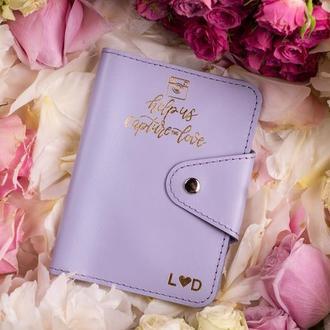 Кожаная обложка на паспорт, обложка из натуральной кожи, обложка на паспорт в лиловом цвете