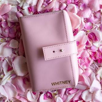 Чехол для наушников и проводов из натуральной кожи, кожаный органайзер для проводов в розовом цвете