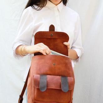 Кожаный женский рюкзак Ременной