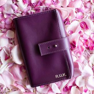 Чехол для наушников и проводов из натуральной кожи, кожаный органайзер в фиолетовом цвете