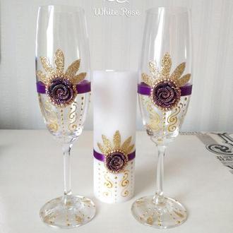 Свадебные бокалы фиолетово-золотые // Весільні бокали для молодих