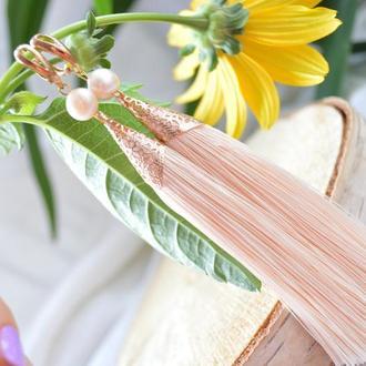 Серьги - кисти кремового цвета с жемчугом ′Зефир′