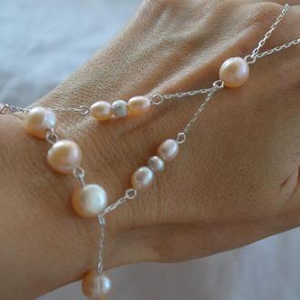 Серебряный слейв-браслет из розового жемчуга ′Жемчужина востока′