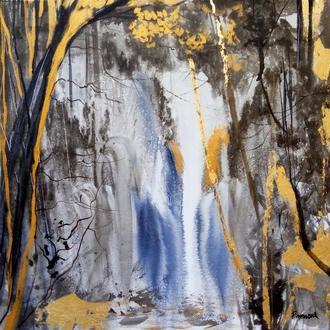 Картина Абстракция Современная картина в интерьер с Золочением Поталью