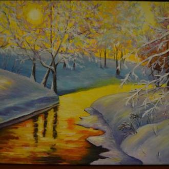 """Картина""""зимний закат"""""""