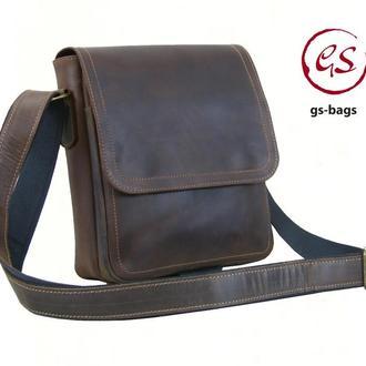Мужская кожаная сумка с ремнем через плечо коричневая