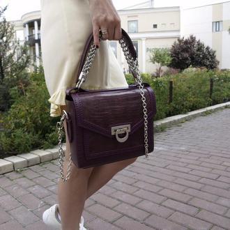 Женская сумка из натуральной кожи ящерицы