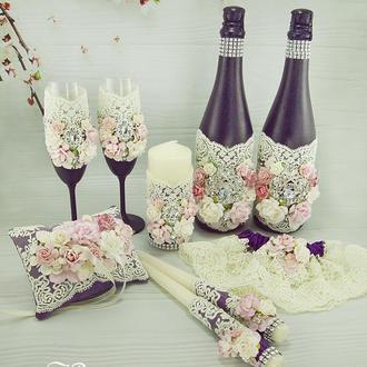 Свадебный набор фиолетовый / Рожевий набір для весілля / Черничный набор для свадьбы
