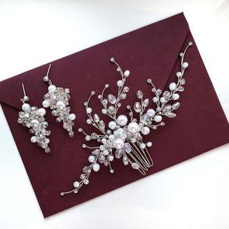 Свадебное украшение для волос, гребешок в прическу, украшение в прическу, комплект украшений невесте