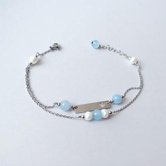 Браслет из аквамарина  и речного жемчуга (модель № 391) JK jewelry