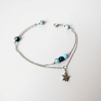 Тонкий браслет из синего апатита и гематита (модель № 394) JK jewelry