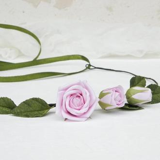 Венок на голову с розовыми цветами розами, Обруч с розой в подарок