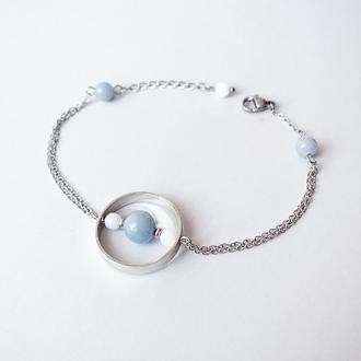 """Браслет в стиле """"геометрия"""" из ангелита и белого нефрита (модель № 546) JK jewelry"""