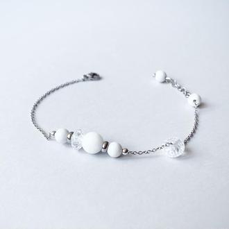 Тонкий браслет-цепочка из  белого нефрита и горного хрусталя  (модель № 548) JK jewelry