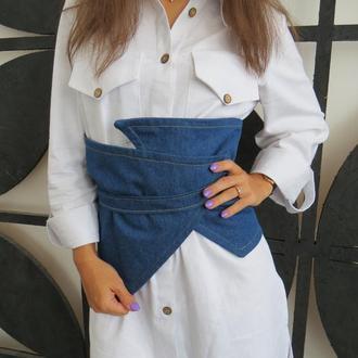Женский пояс баска на талию ассиметричный джинсовый, стильный пояс корсет на талию