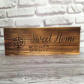 Деревянная табличка с вашими geo-координатами, подарок на новоселье