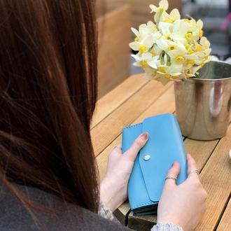 Женский голубой кожаный клатч кошелек (2 card) «Proza Azure» на кнопке с отделом для монет