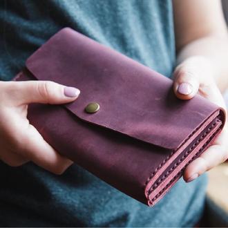 Женский кожаный клатч кошелек бордо марсала (2 card) «Proza Marsala» на кнопке с отделом для монет