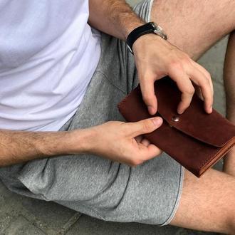 Женский мужской кожаный клатч кошелек (3 card) «Nice Cognac» на кнопке с отделом для монет