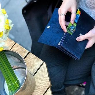 Женский мужской кожаный клатч кошелек (3 card) «Nice Blue» на кнопке с отделом для монет